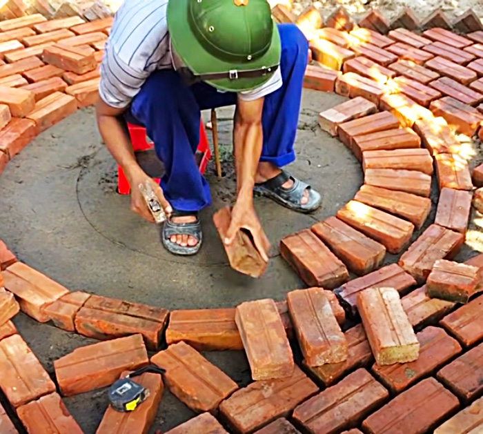 Build a work of art in the yard or garden using bricks and shells