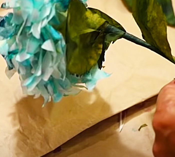 Make coffee filter flower with food coloring and floral tape
