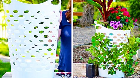 How To Make A Strawberry Planter Out Of A Laundry Basket | DIY Joy Projects and Crafts Ideas