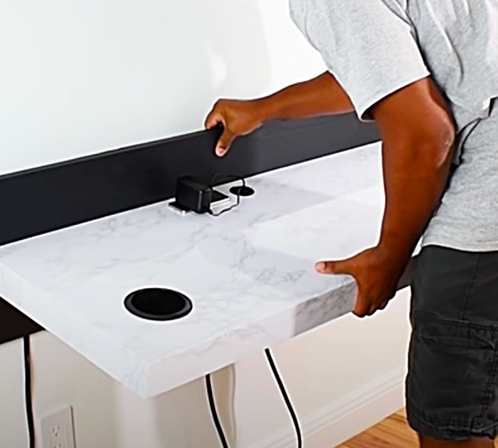 How to mount an ultra modern built in desk to the wall.