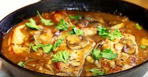 30 Minute One Pan Pork Chops With Mushroom And Garlic Gravy Recipe