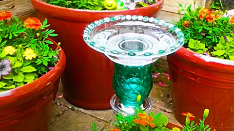 How To Make An Upcycled Thrift Store Birdbath | DIY Joy Projects and Crafts Ideas