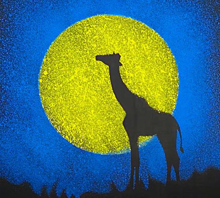 Make A Silhouette Giraffe Jungle Scene Painting
