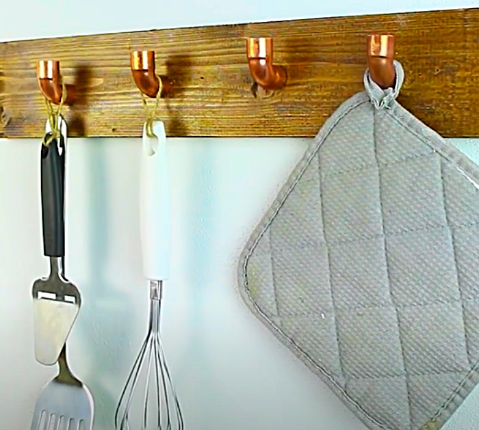 How To Make A Wall Mounted Hook Rack For A Farmhouse Style Kitchen