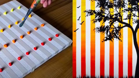 How To Abstract Landscape Paint Using Masking Tape | DIY Joy Projects and Crafts Ideas