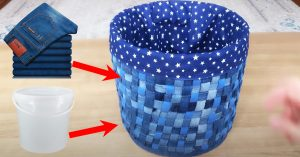 DIY Old Jeans and Plastic Bucket Idea