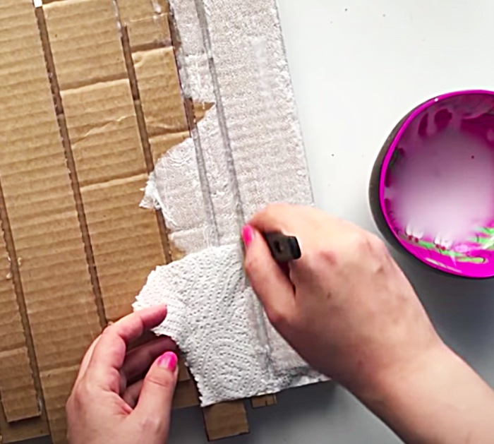 Clock Made From Cardboard And Craft Paint