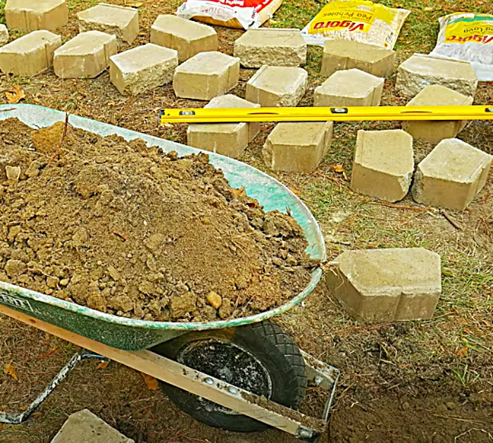 Lay Out All The Materials To Make A Cinder Block Fire Pit