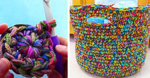 How To Crochet A Variegated Yarn Basket