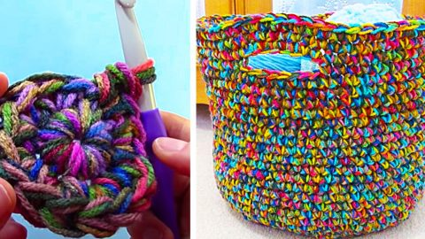 How To Crochet A Variegated Yarn Basket | DIY Joy Projects and Crafts Ideas