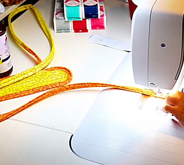 Sew Batting To Jelly Roll Strips To Make A Fabric Strip Rug