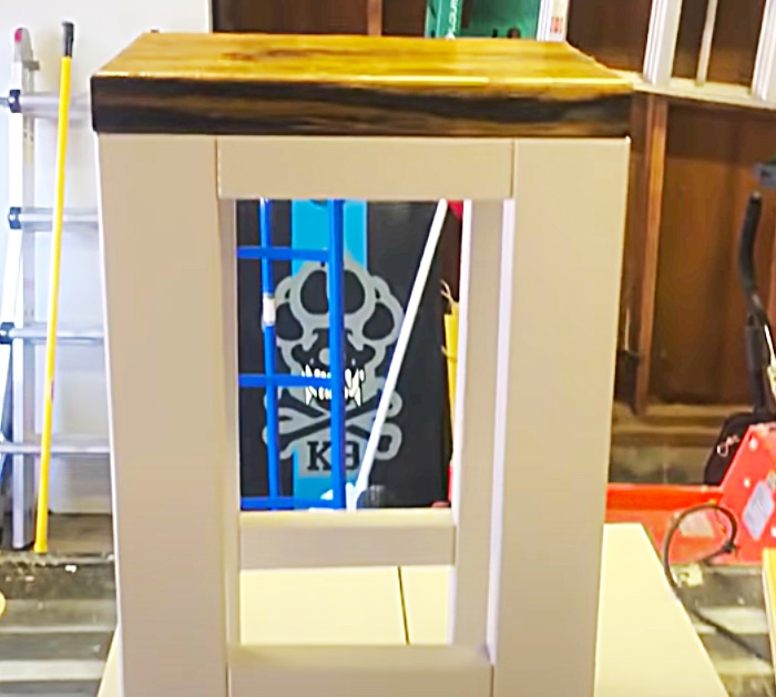 Paint The Base Of DIY Farmhouse End Tables White And The Top Stained Dark Wood