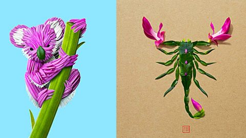 Artist Crafts Colorful Bugs & Animals From Fresh Flowers | DIY Joy Projects and Crafts Ideas