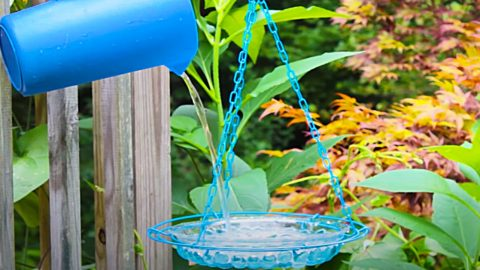 Dollar Store DIY: Hanging Glass Bird Bath | DIY Joy Projects and Crafts Ideas