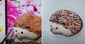 How To Paint A Hedgehog Rock