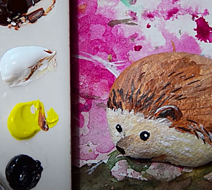 Paint A Rock Hedgehog With Craft Paint