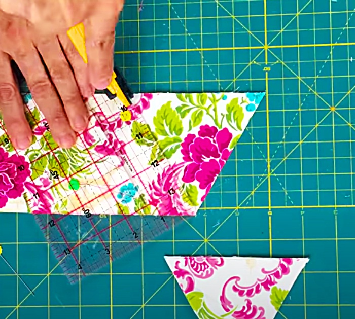 Cut Triangles For A Kaleidoscope Quilt