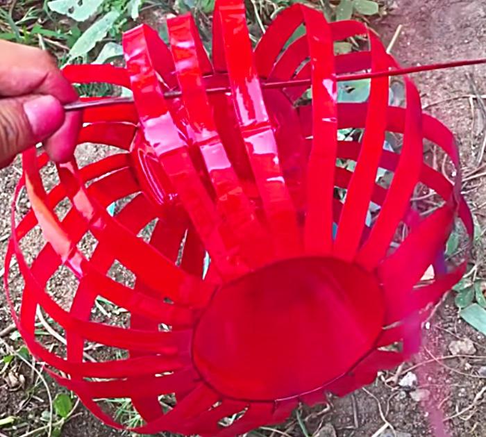Spray Paint A Plastic Bottle To Make A Lantern Planter