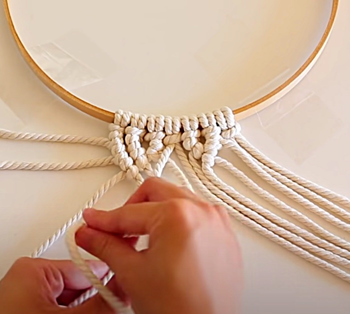 Tie Knots To Make A Macrame Mandala Wall Hanging