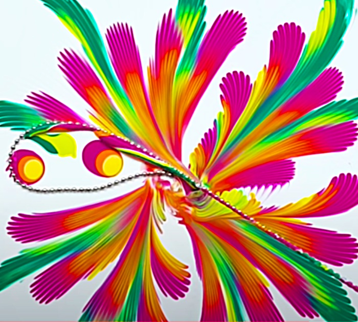 Abstract Colorful Art With Craft Paint And A Chain
