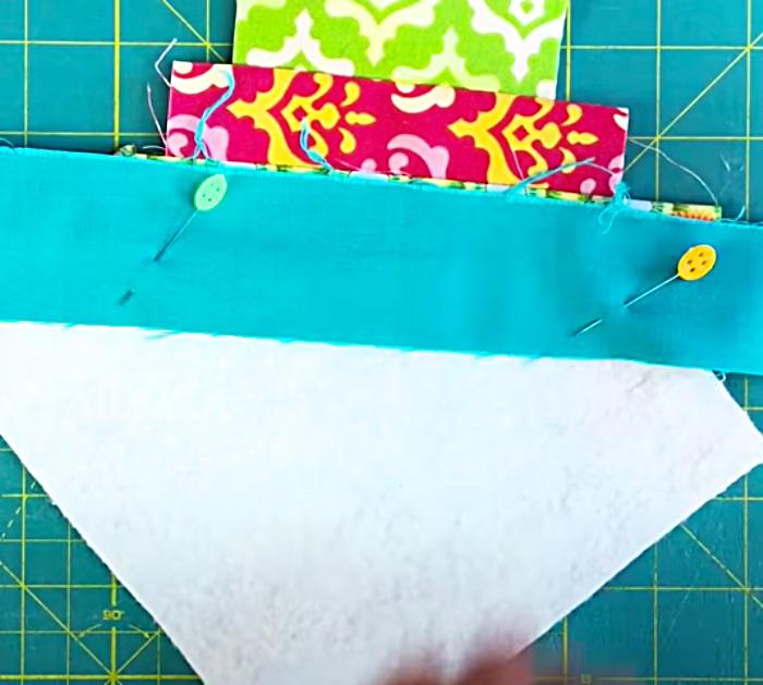 Make A Diagonal Striped Quilt-As-You-Go Quilt Block