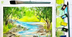 Summer Water Color Landscape Painting For Beginners
