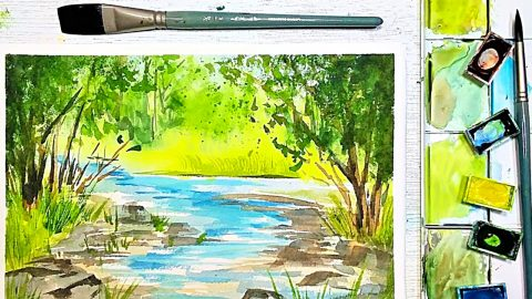 Summer Water Color Landscape Painting For Beginners | DIY Joy Projects and Crafts Ideas