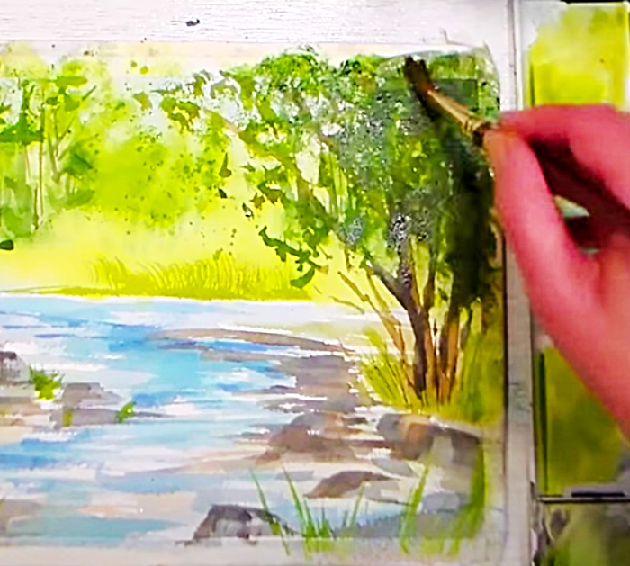 Use A Sponge To Smudge Watercolor Trees In a Summer Landscape
