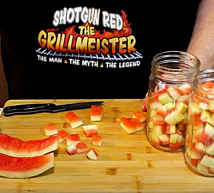 Cut the Rind Off A Watermelon To Make Pickles