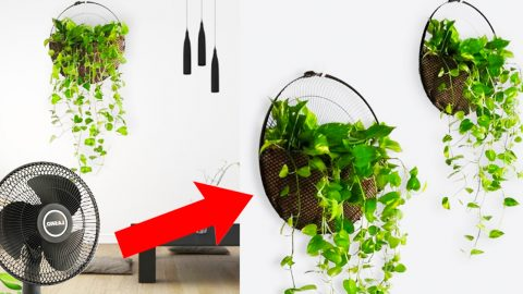 How To Make A Plant Hanging Basket From A Fan Grill | DIY Joy Projects and Crafts Ideas