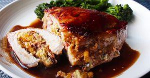 Peach-Stuffed Pork Chops Recipe