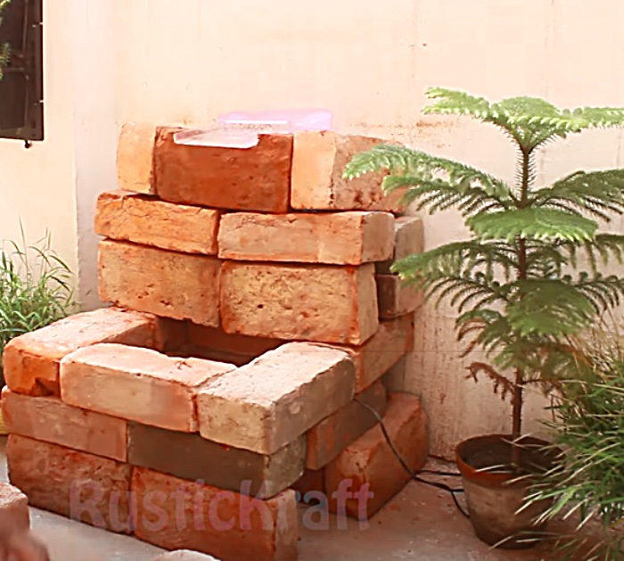 Stack Bricks To Make An Outdoor Waterfall