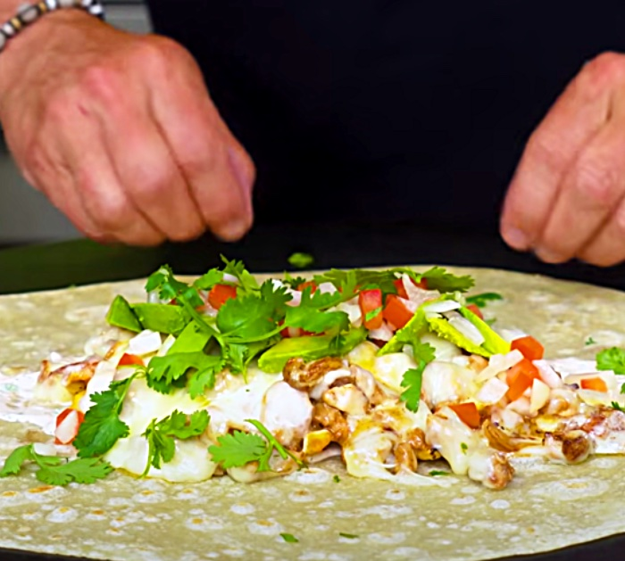 Layer Ingredients on A California Chicken Burrito