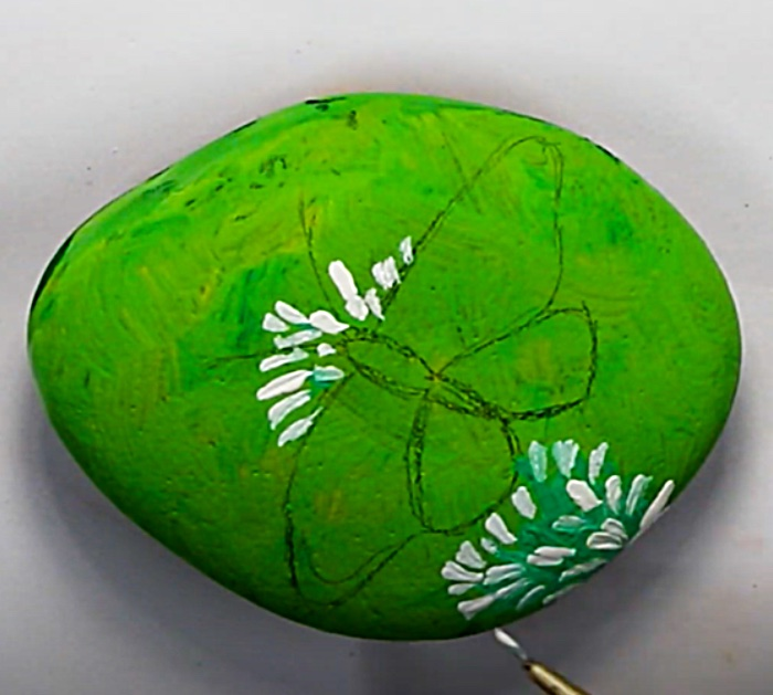Use Craft Paints To Paint A Butterfly Rock