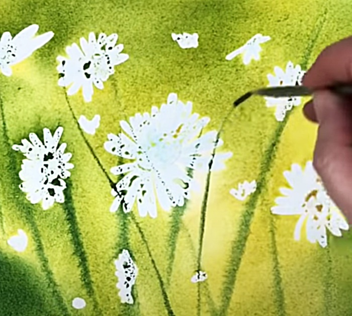 Paint A Green Background For Watercolor Daisies