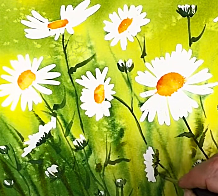Paint The Stems And Petals Of Daisies With Watercolors