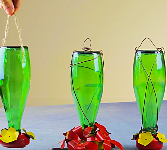 Wrap A Perrier Bottle In Wire To Make A Hummingbird Feeder