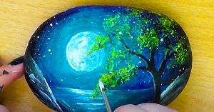 How To Paint A Night Sky Landscape On A Rock