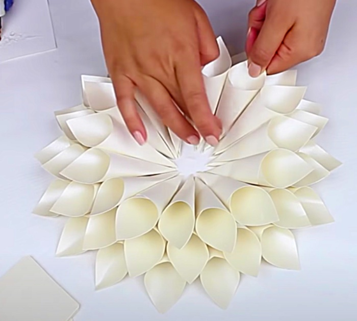 Glue Paper Cones To A Circle For Paper Dahlias