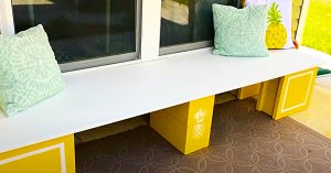DIY Cinder Block Bench With Pineapple Accents