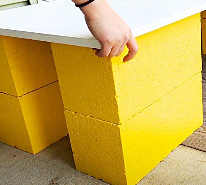 Add A Board On Top Of Cinder Blocks To Make A Bench