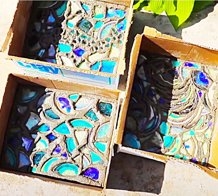 Use Cardboard Boxes To Mold Mosaic Concrete Pavers