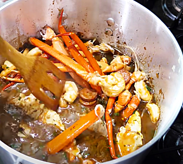 Add King Crab Legs To Seafood Gumbo