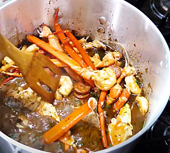 Add King Crab Legs To Seafood Gumbo
