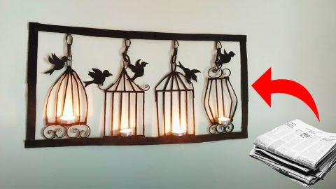 Newspaper Craft: DIY Wall Mounted Candle Holder | DIY Joy Projects and Crafts Ideas