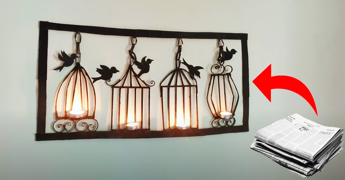 Newspaper Craft Diy Wall Mounted Candle Holder