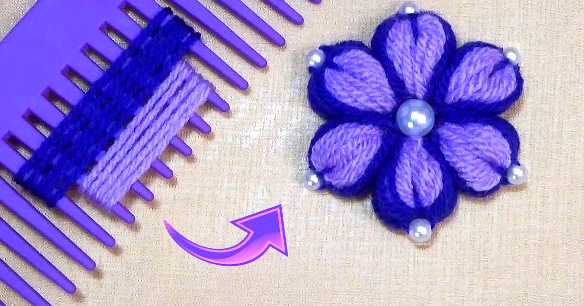 Diy Woolen Flower With Hair Comb