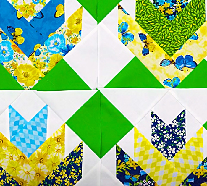 Place Quilt Blocks Together To Make a mountain Lily Quilt