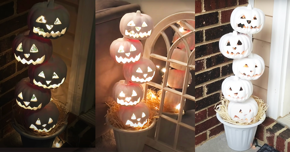 Diy Dollar Tree Jack O Lantern Topiary