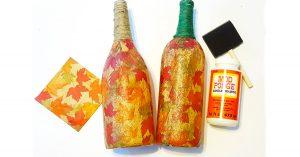 DIY Fall Leaves Wine Bottles